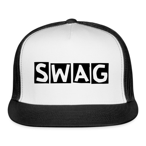 BLACK AND WHITE (SWAG) - FLAT BILL HAT - Trucker Cap