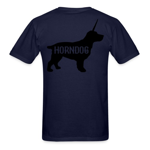 HornDog T-Shirt Black on Back - Men's T-Shirt