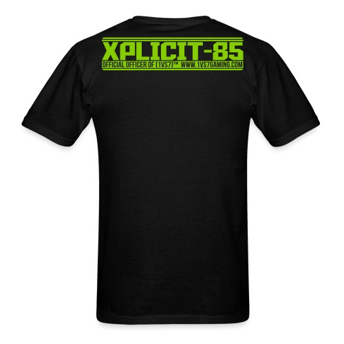 CUSTOM for XPLICIT | [1vs7]™ Men's Tee | Apple Green Smooth Logo | Black Fabric | Custom Gamertag/Rank - Men's T-Shirt