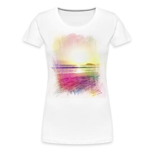 Beach Sunset Pencil Color Womans - Women's Premium T-Shirt