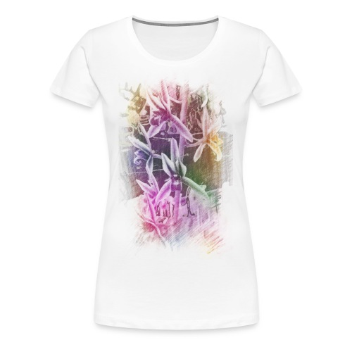 Orchids Colored Sketch Womans - Women's Premium T-Shirt