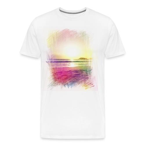 Beach Sunset Color Pencil Mens - Men's Premium T-Shirt