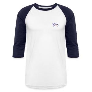 Men's 3/4 Sleeve Performance T-Shirt - White and Navy - Baseball T-Shirt