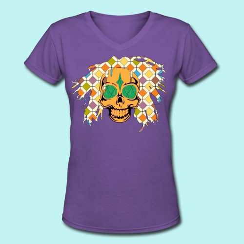 Bob Marley Womans Skully  - Women's V-Neck T-Shirt
