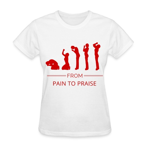 From Pain to Praise Classic Tee - white with red design - Women's T-Shirt