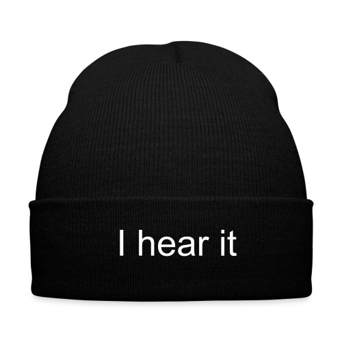 I hear it Beanie - Knit Cap with Cuff Print