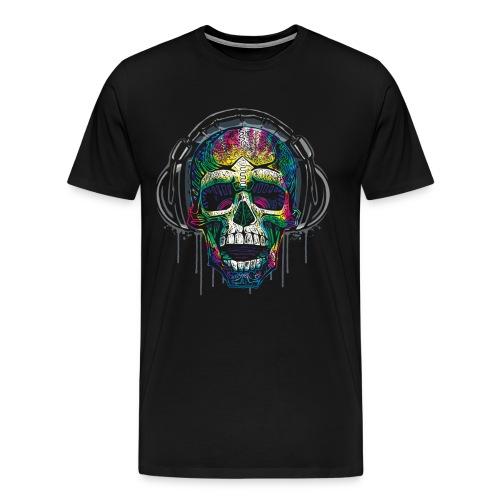 Dripping Skull Headphones - Men's Premium T-Shirt
