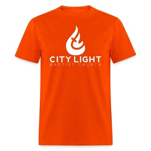 City Light Big Flame White Logo T-Shirt - Men's T-Shirt
