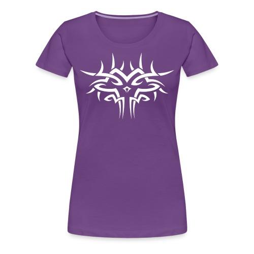 Skull tribal art white on black - Women's Premium T-Shirt