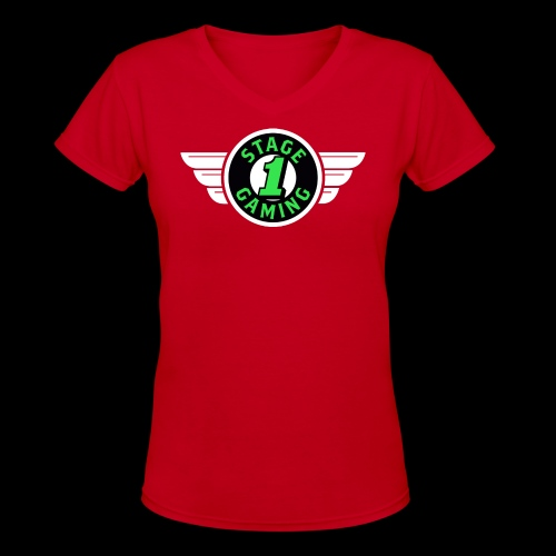 Authentic Stage 1 Gaming Tee - Red - Womens - Women's V-Neck T-Shirt