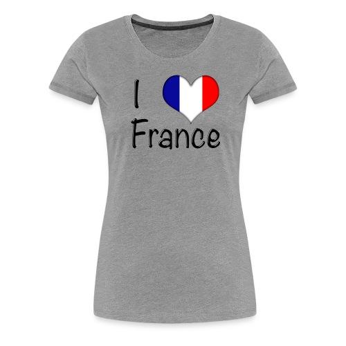 Women's I Love France T-Shirt (Black Text) - Women's Premium T-Shirt