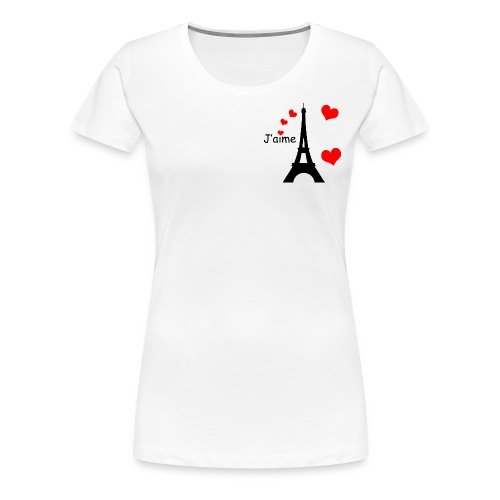 Women's Eiffel Tower T-Shirt (Small Black Text) - Women's Premium T-Shirt