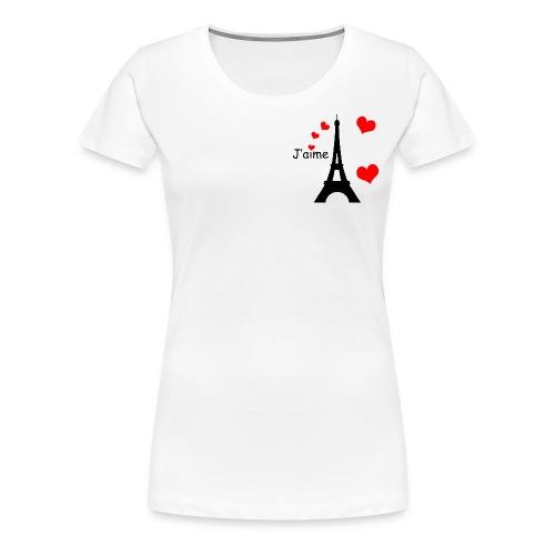 Women's Eiffel Tower T-Shirt (Small Black Text) - Women's Premium T-Shirt