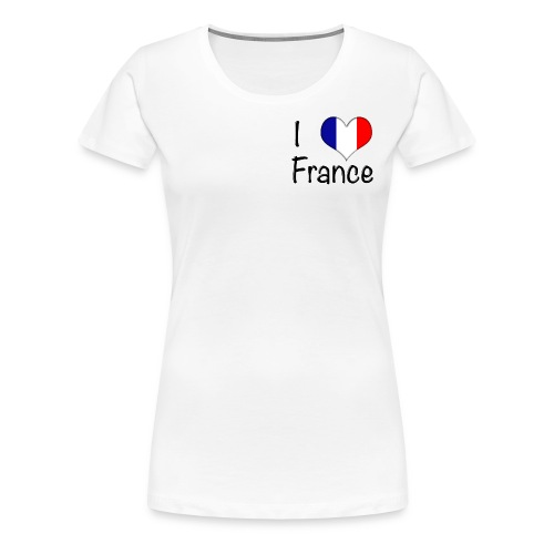 Women's I Love France T-Shirt (Small Black Text) - Women's Premium T-Shirt
