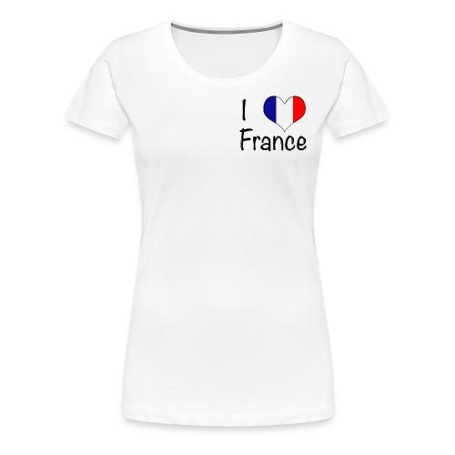 Women's I Love France T-Shirt (Small Black Text) - Women's Premium T-Shirt