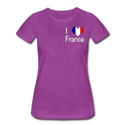 Women's I Love France T-Shirt (Small White Text) - Women's Premium T-Shirt
