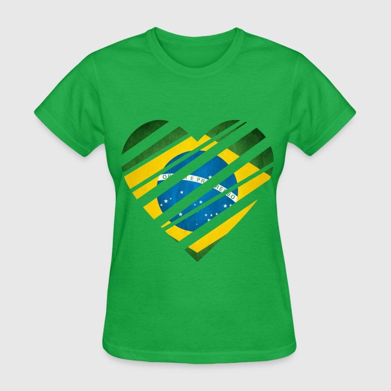 Brazil heart t shirt spreadshirt for Womens brazil t shirt