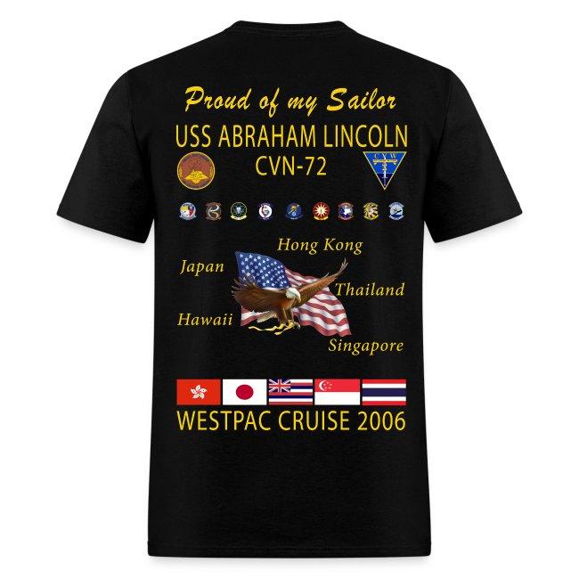 USS ABRAHAM LINCOLN CVN-72 WESTPAC 2006 CRUISE SHIRT - FAMILY EDITION