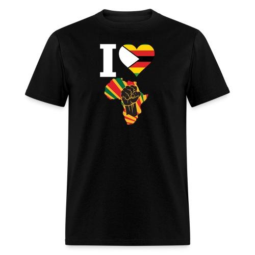 I Love Zimbabwe Flag Black Power T-Shirt - Men's T-Shirt