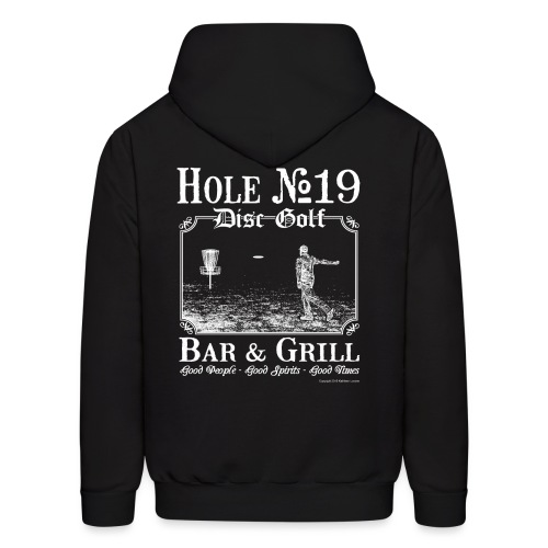 Hole 19 Disc Golf Bar and Grill Adult Hoodie - White Print - Men's Hoodie