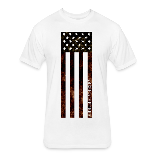 Vertical Flag Men's Cotton / Poly Tee - [America Is Fucked™] - Fitted Cotton/Poly T-Shirt by Next Level