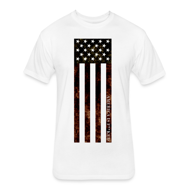 Vertical Flag Men's Cotton / Poly Tee - [America Is Fucked™]