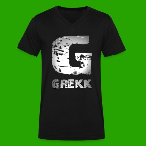 PLAYERA PREMIUM 'GREKK TEXT AND LOGO' PARA HOMBRES (Personalizable) - Men's V-Neck T-Shirt by Canvas