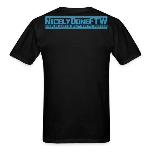 CUSTOM for Mr. NICELY | [1vs7]™ Men's Tee | Blue Velvety Logo | Black Fabric | Custom Gamertag/Rank - Men's T-Shirt