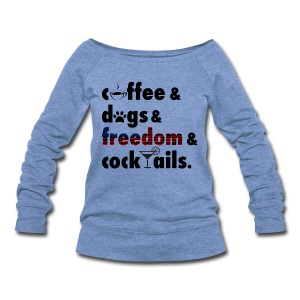 Women's CoffeeDogs Wide Neck Sweatshirt Full - Women's Wideneck Sweatshirt