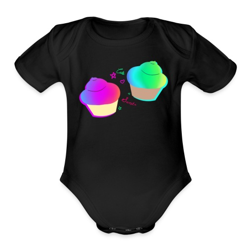 Rainbow Cupcake   - Organic Short Sleeve Baby Bodysuit