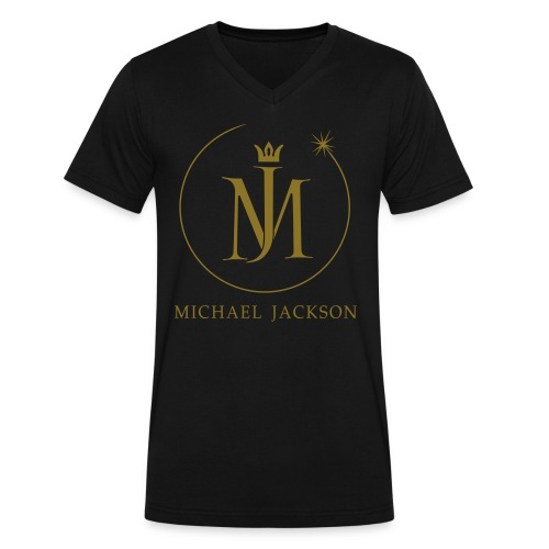 MJ Eclipse Logo Foil Men's Black V-Neck - Men's V-Neck T-Shirt by Canvas