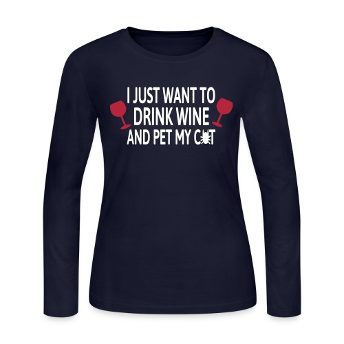 wine and cats long-sleeved jersey - Women's Long Sleeve Jersey T-Shirt