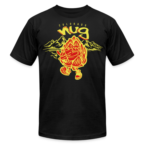 CO Nug (Yellow/Red) - Men's T-Shirt w/ sleeve logo - Men's Fine Jersey T-Shirt