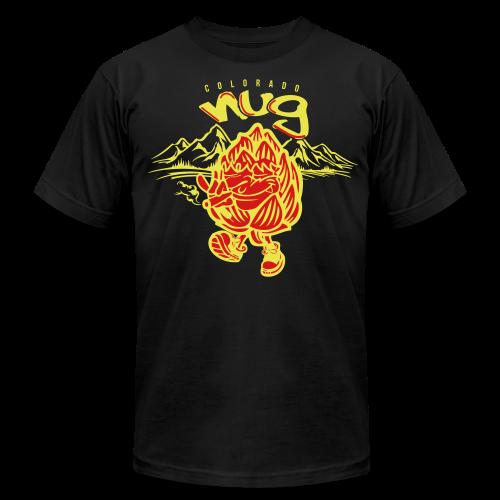 CO Nug (Yellow/Red) - Men's T-Shirt w/ sleeve logo - Men's Fine Jersey T-Shirt