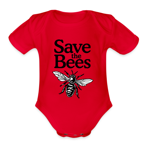 Save The Bees (bicolor) Baby One Piece - Organic Short Sleeve Baby Bodysuit