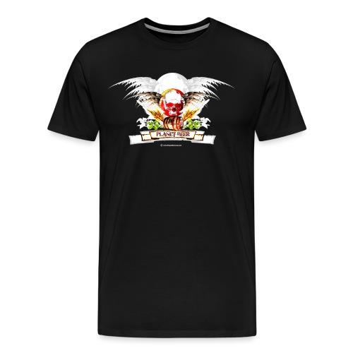 Planet Beer Skull & Keg Gothic Men's Premium T-Shirt - Men's Premium T-Shirt