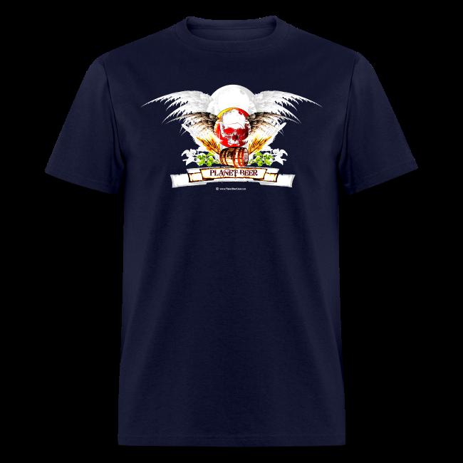 Planet Beer Skull & Keg Gothic Men's T-Shirt