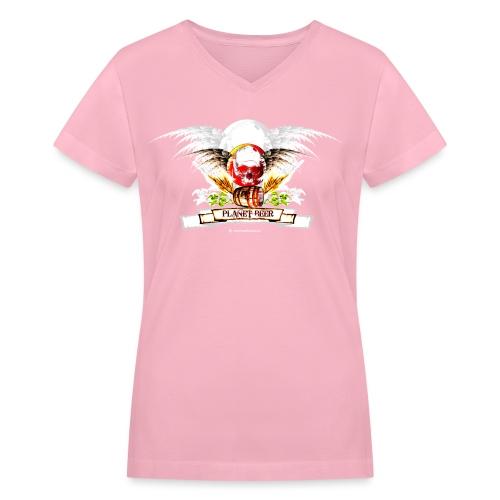 Planet Beer Skull & Keg Gothic Women's V-Neck T-Shirt - Women's V-Neck T-Shirt