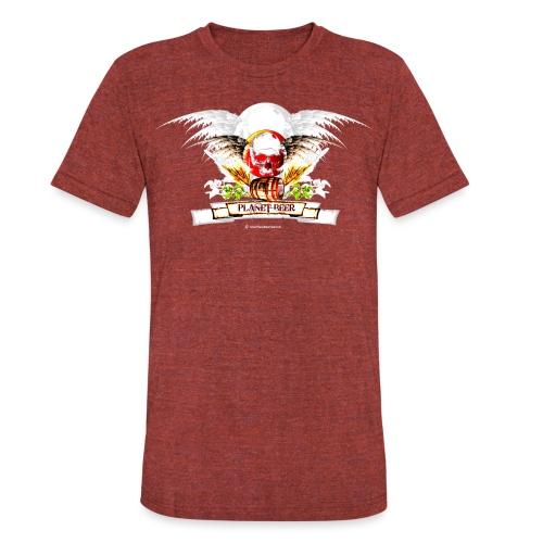 Planet Beer Skull & Keg Gothic Unisex Tri-Blend T-Shirt - Unisex Tri-Blend T-Shirt