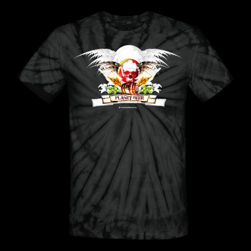 Planet Beer Skull & Keg Gothic Tie Dye T-Shirt - Unisex Tie Dye T-Shirt