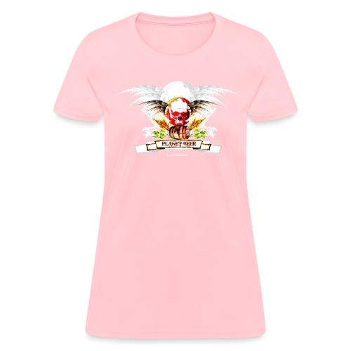 Planet Beer Skull & Keg Gothic Women's T-Shirt - Women's T-Shirt