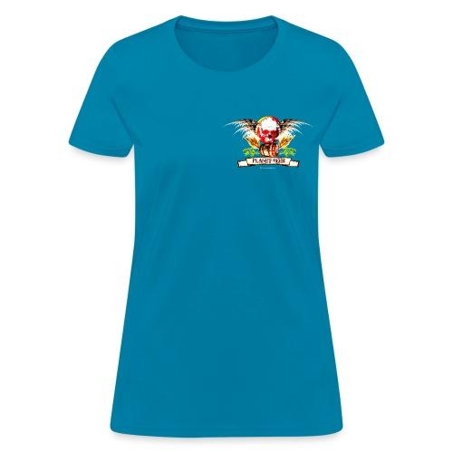 Planet Beer Skull & Keg Gothic Women's T-Shirt (Double Sided) - Women's T-Shirt