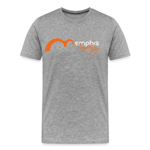 Mens T Grey with Orange and White - Men's Premium T-Shirt