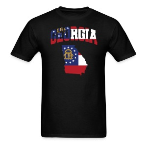 Georgia Flag In Georgia Map T-Shirt - Men's T-Shirt