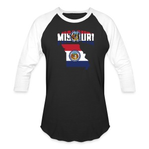 Missouri Flag in Missouri Map Baseball Tee - Baseball T-Shirt