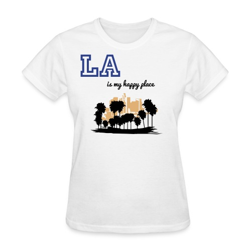 Women's T-Shirt - Me and my mom were talking the other day. We both love all of California very much, but since we moved away from Los Angles many years ago, we miss it so bad! Los Angles will always have our heart, it makes us smile, LA is our happy place! So I was inspired to make these cute t shirts to express my feelings. For any who was born and raised in LA, and how to move away, or anyone who left their heart in LA, I am sure you will enjoy this t shirt design. :o)