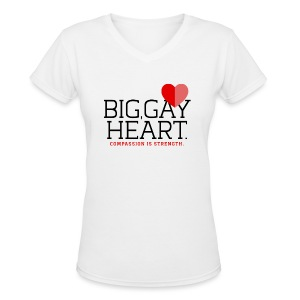 "Big Gay Heart"" (Cis and Trans) Women's T-Shirt - Women's V-Neck T-Shirt"