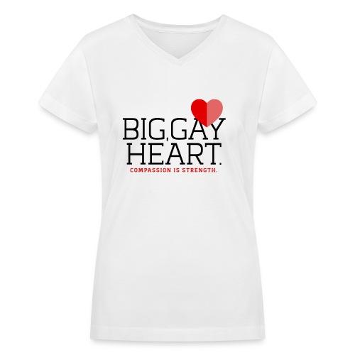 "Big Gay Heart"" (Cis and Trans) Women's T-Shirt - Women's V-Neck T-Shirt"