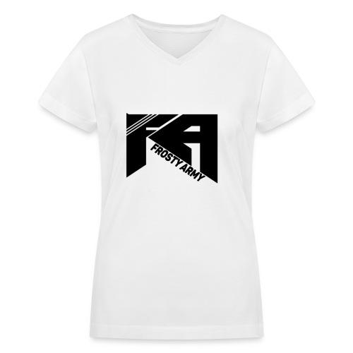 Female White  V Neck T Shirt - Women's V-Neck T-Shirt