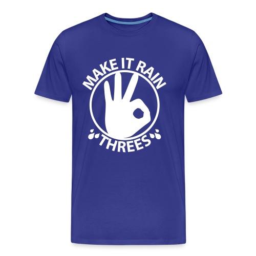 Make it rain threes T - White Print - Men's Premium T-Shirt